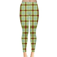 Geometric Tartan Pattern Square Leggings