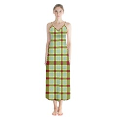 Geometric Tartan Pattern Square Button Up Chiffon Maxi Dress by Sapixe