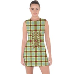 Geometric Tartan Pattern Square Lace Up Front Bodycon Dress by Sapixe