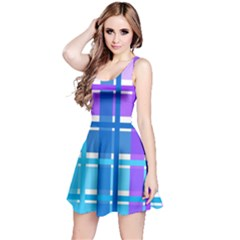 Gingham Pattern Blue Purple Shades Reversible Sleeveless Dress by Sapixe