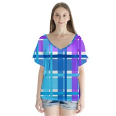 Gingham Pattern Blue Purple Shades V Neck Flutter Sleeve Top by Sapixe