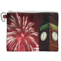 Fireworks Explode Behind The Houses Of Parliament And Big Ben On The River Thames During New Year's Canvas Cosmetic Bag (xxl) by Sapixe