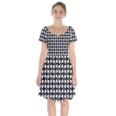 Grid Pattern Background Geometric Short Sleeve Bardot Dress by Sapixe