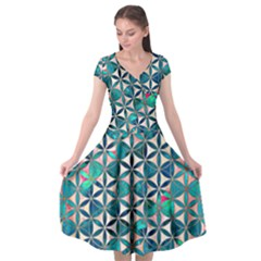 Flower Of Life, Paint, Turquoise, Pattern, Cap Sleeve Wrap Front Dress