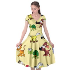 Group Of Animals Graphic Cap Sleeve Wrap Front Dress by Sapixe