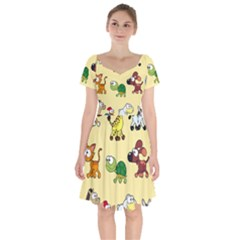 Group Of Animals Graphic Short Sleeve Bardot Dress by Sapixe