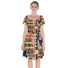 Guitar Typography Short Sleeve Bardot Dress by Sapixe