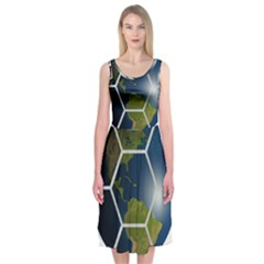 Hexagon Diamond Earth Globe Midi Sleeveless Dress
