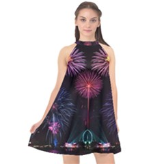 Happy New Year New Years Eve Fireworks In Australia Halter Neckline Chiffon Dress  by Sapixe
