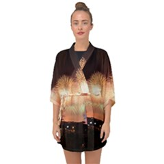 Kuwait Liberation Day National Day Fireworks Half Sleeve Chiffon Kimono
