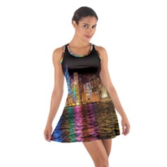 Light Water Cityscapes Night Multicolor Hong Kong Nightlights Cotton Racerback Dress