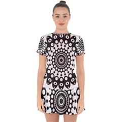 Mandala Geometric Symbol Pattern Drop Hem Mini Chiffon Dress by Sapixe