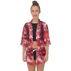 Maple Leaves Red Autumn Fall Open Front Chiffon Kimono by Sapixe