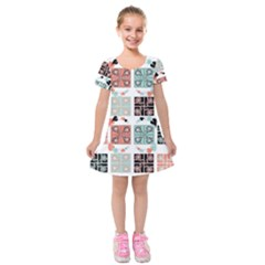 Mint Black Coral Heart Paisley Kids  Short Sleeve Velvet Dress by Sapixe