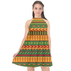 Mexican Pattern Halter Neckline Chiffon Dress  by Sapixe