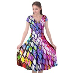 Multicolor Wall Mosaic Cap Sleeve Wrap Front Dress by Sapixe