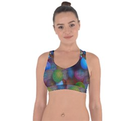 Multicolored Patterned Spheres 3d Cross String Back Sports Bra by Sapixe