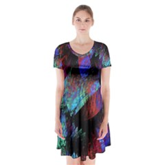 Native Blanket Abstract Digital Art Short Sleeve V Neck Flare Dress by Sapixe
