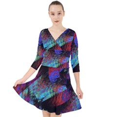 Native Blanket Abstract Digital Art Quarter Sleeve Front Wrap Dress