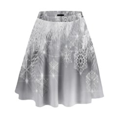 New Year Holiday Snowflakes Tree Branches High Waist Skirt