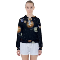 Outer Space Planets Solar System Women s Tie Up Sweat by Sapixe