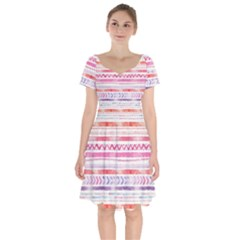 Watercolor Tribal Pattern Short Sleeve Bardot Dress by tarastyle