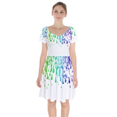 Paint Drops Artistic Short Sleeve Bardot Dress by Sapixe