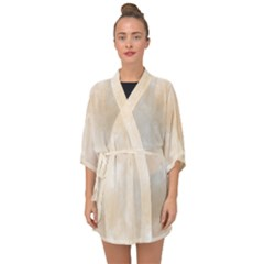 Pattern Background Beige Cream Half Sleeve Chiffon Kimono by Sapixe