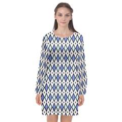 Blue Jess Long Sleeve Chiffon Shift Dress  by jumpercat