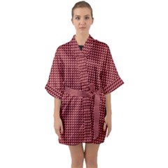 Red Triangulate Quarter Sleeve Kimono Robe