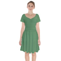 Green Triangulate Short Sleeve Bardot Dress