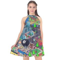 Pixel Art City Halter Neckline Chiffon Dress  by Sapixe