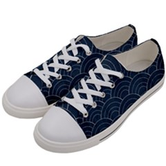 Japan Sashiko Navy Ornament Women s Low Top Canvas Sneakers by goljakoff