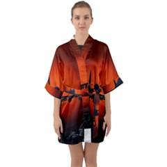 Red Sun Jet Flying Over The City Art Quarter Sleeve Kimono Robe by Sapixe