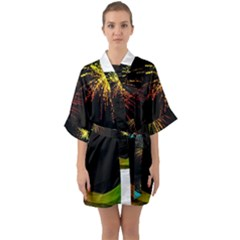 Rainbow Fireworks Celebration Colorful Abstract Quarter Sleeve Kimono Robe by Sapixe
