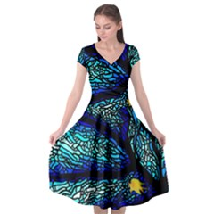 Sea Fans Diving Coral Stained Glass Cap Sleeve Wrap Front Dress by Sapixe