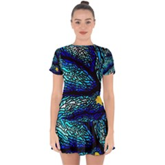 Sea Fans Diving Coral Stained Glass Drop Hem Mini Chiffon Dress