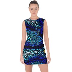 Sea Fans Diving Coral Stained Glass Lace Up Front Bodycon Dress by Sapixe