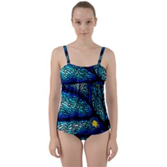 Sea Fans Diving Coral Stained Glass Twist Front Tankini Set