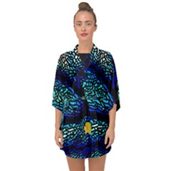 Sea Fans Diving Coral Stained Glass Half Sleeve Chiffon Kimono by Sapixe