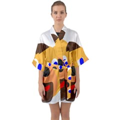 Solidarity Clipart Bear Head Teddy Bear Xmas Christmas Stuffed Animal Quarter Sleeve Kimono Robe