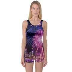 Singapore New Years Eve Holiday Fireworks City At Night One Piece Boyleg Swimsuit by Sapixe