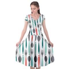 Spoon Fork Knife Pattern Cap Sleeve Wrap Front Dress by Sapixe