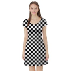 Checker Black And White Short Sleeve Skater Dress by jumpercat