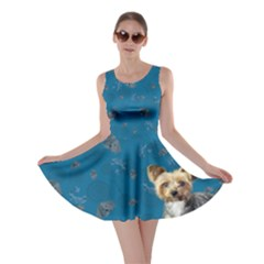 Yorkie On Blue Skater Dress by chihuahuadresses