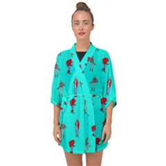 Hotline Bling Blue Background Half Sleeve Chiffon Kimono