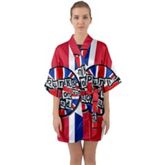 Punk Not Dead Music Rock Uk United Kingdom Flag Quarter Sleeve Kimono Robe by Samandel