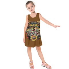 Tattoo Art Print Traditional Artwork Lighthouse Wave Kids  Sleeveless Dress by Sapixe