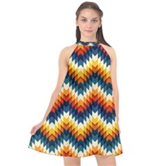 The Amazing Pattern Library Halter Neckline Chiffon Dress  by Sapixe