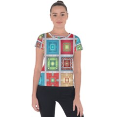Tiles Pattern Background Colorful Short Sleeve Sports Top  by Sapixe